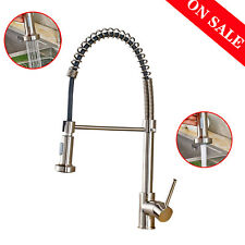 Brushed Nickel Spring Kitchen Faucet Single Handle Pull Down Sprayer Mixer Tap