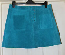 Topshop Leather Skirt Size 14 Green Suede Genuine