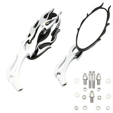 Pair Motorcycle Chrome Flame Style Rearview Mirrors For Cruiser Chopper Custom