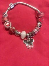 AUTHENTIC CHAMILIA BARREL BRACELET w/ MINNIE CHARMS + BOX free PANDORA Bead