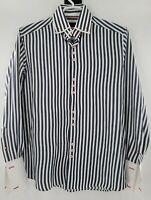 Coogi Classic Mens Button Down Long Sleeve Dress Shirt Flipped Cuff Striped SZ L