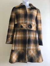 Zara Brown Beige Vintage Checked Wool Coat. Size Medium (UK 12)