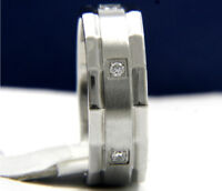 Wedding Band Stainless Steel Engagement Anniversary Mens 0.01 CT CZ Ring