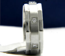 Wedding Band Stainless Steel Engagement Anniversary Men's 0.01 CT CZ Ring