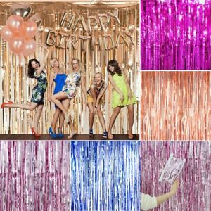 2M-3M Foil Fringe Tinsel Shimmer Curtain Door Wedding Birthday Party Baby Shower