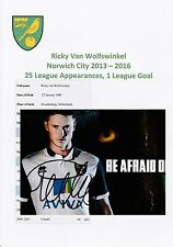 RICKY van WOLFSWINKEL NORWICH CITY 2013-2016 ORIGINAL HAND SIGNED PHOTOGRAPH