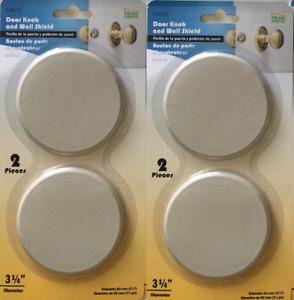 """Door Knob Wall Shield/Protector, 2 Sets of 2, 3.25"""" diameter, Beige, 58210"""