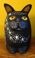 ORIGINAL HAND PAINTED RYTA HALLOWEEN BLACK CAT FIGURINE VINTAGE STYLE OOAK OWLS