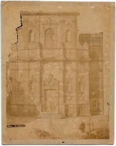 Lecce S. Chiara. Animata. Antica foto originale all'albumina 1860c XL501