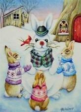 50% OFF SALE! ACEO Limited Edition Print Winter Bunny Rabbits Snow Snowbunny