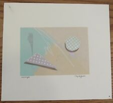 Signed Clay Huffman (1957–2001) Monotype print post modern textured geometric