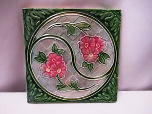 "Antique Art Nouveau Majolica Tile Pink Flower In Circle Green Embossed Rare ""512"