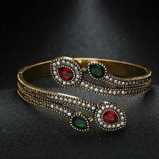 Ruby Emerald Cuff Bracelet Elegant Vintage_Style Antique_Golden_finish Jewelry