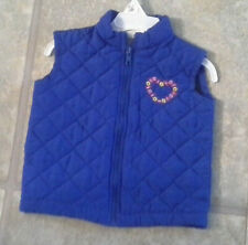 Small Steps Girl's Size 2T Royal Blue Quilted Vest With Floral Heart In Front