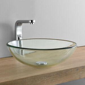 [neu.haus] Waschbecken rund Waschschale Ø42cm Glas Waschtisch Aufsatzbecken Bad
