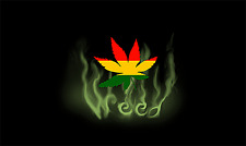 RASTA LEAF SMOKE - WEED FLAG - 3 x 5 FEET - WALL HANGING POSTER MARIJUANA RP0054