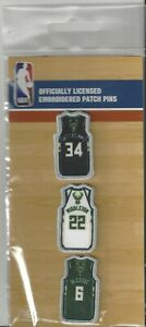 Milwaukee Bucks Set of 3 Player Pins Embroidered NBA Logo 4 Backpack Hat Craft
