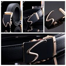 Luxury Mens Casual Waistband Leather Gold Automatic Buckle Suit Waist Belt Hot