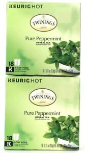2 Boxes Keurig Hot Twinings Of London Pure Peppermint 18 K Cup Pods Herbal Tea