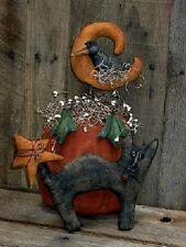 PATTERN Primitive Pumpkin & Crow w/ Black Cat Doll Fall Table Display Halloween