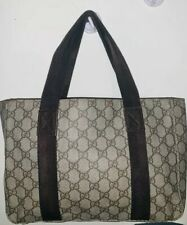 8a45c79c9340 PRE-OWNED GUCCI GG PATTERN SUPREME SHOULDER TOTE PVC BROWN LEATHER BAG