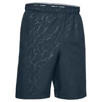 Under Armour UA HeatGear Mens Sports Woven Graphic Emboss Grey Blue Shorts L