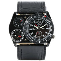 OULM Compass Deco Army Military Leather Band Men Sport Quartz Wrist Watch Gift