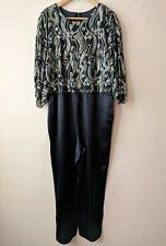 3f8c03dc2090 70s 80s vintage sparkly lurex jumpsuit 14 16 disco party black satin silver