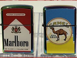 2 Windproof Oil Lighters High Quality Marlboro And Camel Designs Zippo Fluid Gif