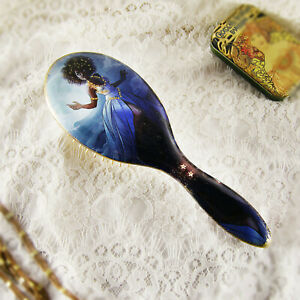 Wooden Hair Brush Handmade Black Fairy Moon Natural Decoupage Wood Comb Bamboo