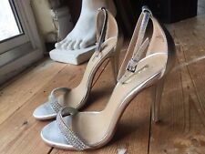 ❤️ Sexy JANE NORMAN Silver Diamanté Ankle Strap Barely There Stiletto Heels UK4