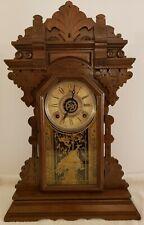 Antique Working 1890 Ingraham Victorian Walnut Parlor Mantel Shelf Clock w/Alarm
