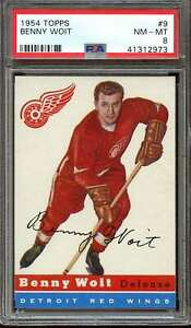 1954 TOPPS #9 BENNY WOIT PSA 8 RED WINGS CENTERED  *AK0115