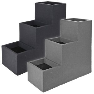 Cubed 3 Tiered Stepped Outdoor Plastic Planter Garden Ribbed Effect Flower Pot