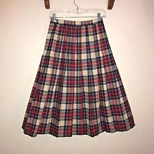 Woodward Plaid Pleated and Lined Wool Skirt Vintage