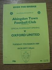 07/03/1989 Abingdon Town v Oxford United [Opening Of Floodlights] . Item In very