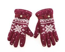 NWT $400 DOLCE & GABBANA D&G Red Wool and Beaver Leather Wrist Gloves s. M