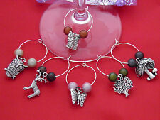 Set of 6 Handmade In The Countryside Wine Glass Charms - FREE P&P