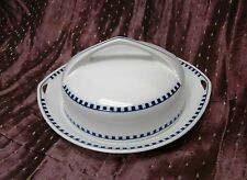 Rosenthal Botticelli Blue Check Round Covered Butter Cheese Server Selb Bavaria