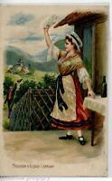 Souvenir d'Alsace-Lorraine Girl Embossed Early Chromo PC Viaggiata 1908