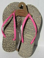 Havaianas Flip Flops size 10.5, 11/12 pink brown Animal Print Spring Summer New