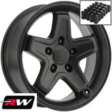 "Jeep Wrangler Wheels 17"" inch 17x8"" Satin Black Rims 5x127 +10  & Black Lug Nuts"