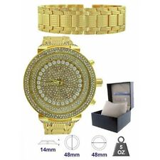 NEW ICE MASTER 2 PC SET GOLD,COVERED CRYSTAL GLITZ,OVER SIZED WATCH+BRACELET