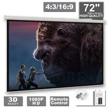 "Projector Screen Motorised 72"" Home 3D Cinema Matte HD Projection"