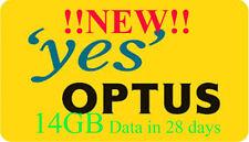 !!!NEW!!! Optus 14GB Data 28 Days Prepaid Mobile Broadband Sim Pack Nano