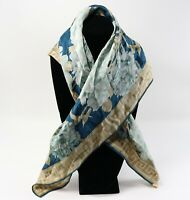 "Blue Teal & Gold Geometric Flower Floral 100% Silk ELAINE GOLD 31"" x 31"" Scarf"
