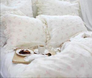 Rachel Ashwell Shabby Chic Couture ROSABELLE Linen Ruffled Pillowcases Shams Set