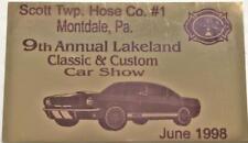 Mustang Car Dash Plaque 1999 Scott Twp Hose Co Montdale Pa. Lakeland Classic