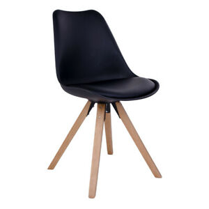 Black Leather Dining Chairs Bergen (set of 2)