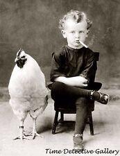 Boy Smoking a Cigarette with a Chicken - circa 1900 - Historic Photo Print